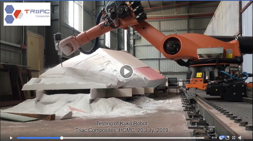 Kuka Robot mills first foam blocks