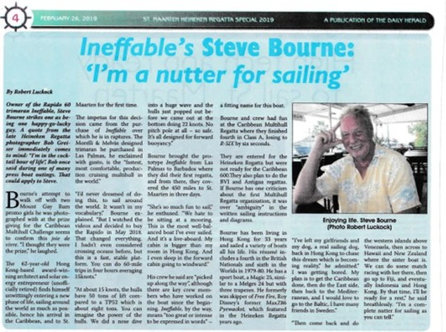 "Ineffable's Steve Bourne, ""I'm a nutter for sailing"", reports Daily Herald"