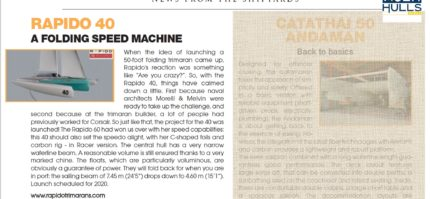 "Multihulls World magazine writes on Rapido 40, ""a folding speed machine""."