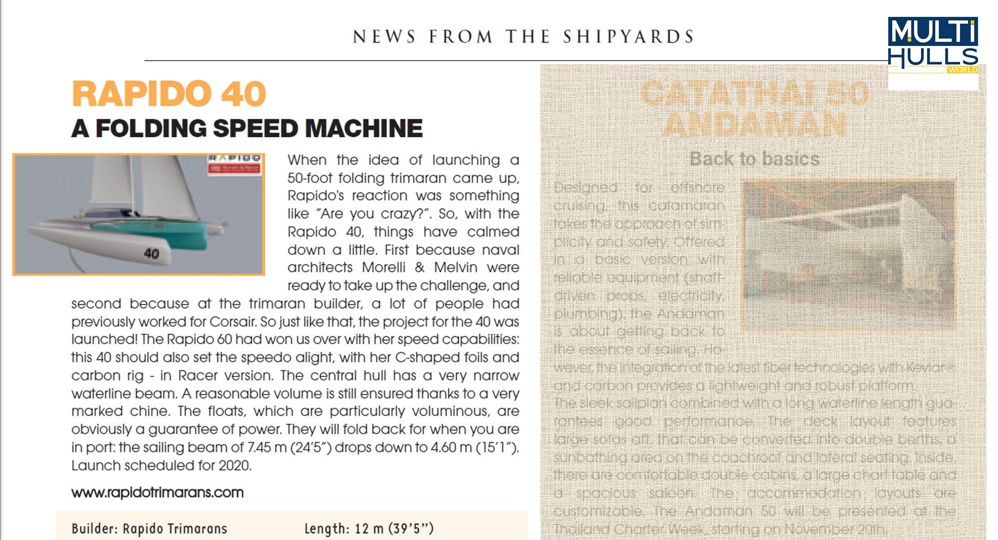 "Rapido 40 a ""folding speed machine"" writes Multihulls World magazine"