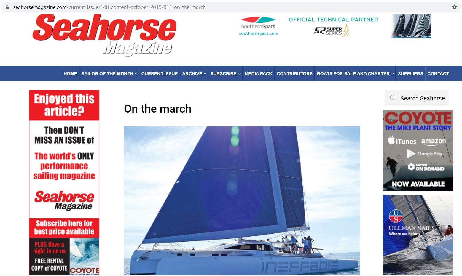 Seahorse magazine profiles Rapido Trimarans, October 2019