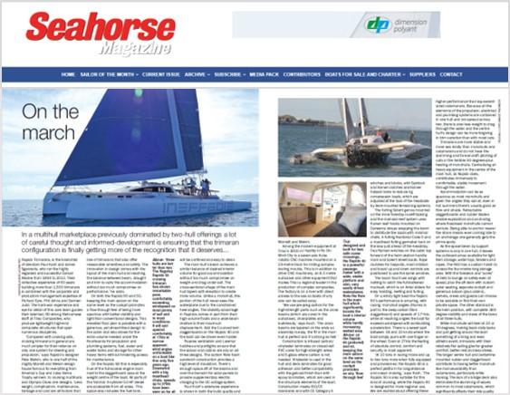 Rapido range of trimarans in Seahorse magazine