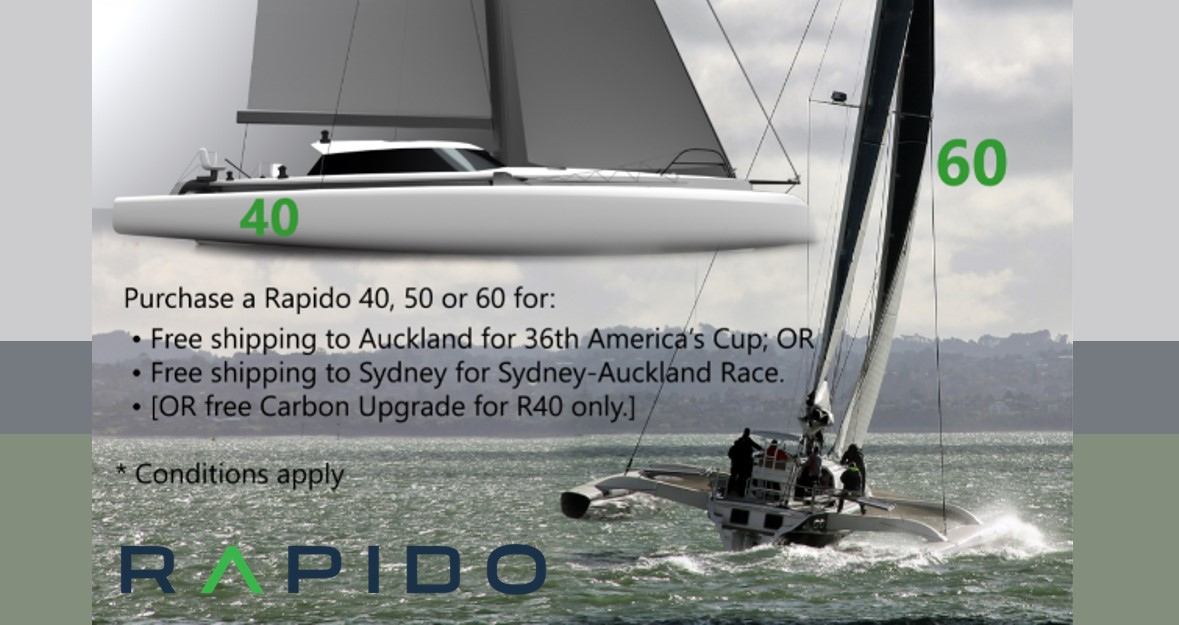 Jump into the 36th America's Cup from your new Rapido Trimaran's trampoline nets!