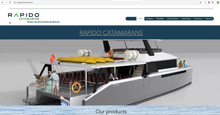 A screenshot from the new Rapido Catamarans' website.