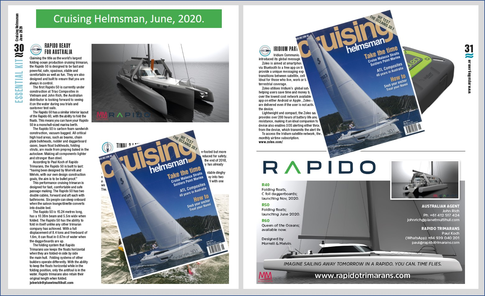 Cruising Helmsman publishes article on Rapido 50